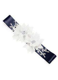 Charmeuse Sash with 3D Flower Embellishment