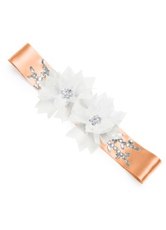 Charmeuse Sash with 3D Flower Embellishment